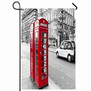 Ahawoso Seasonal Garden Flag 12x18 Inches Box Red Phone Vintage London Telephone Booth Parks Antique Brown England Bench Black Design Call Home Decorative Outdoor Double Sided House Yard Sign