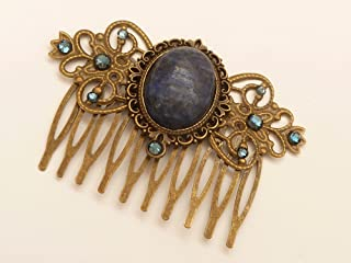 Pettine per capelli in pietra preziosa con cabochon di lapislazzuli blu scuro