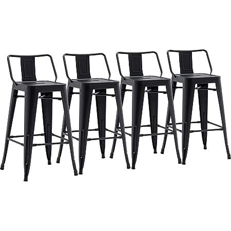 Belleze 30 Inch Barstools Bar Stools Low Back Set Of 4 Black Furniture Decor