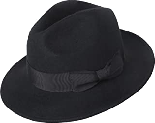 KKONION Fedora Hats Men Genuine Sheepskin Leather Felt Trilby Hat Men Black Casual Jazz Caps Male Natural Leather
