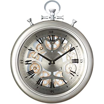 PEGANE Horloge m/étal Gousset Noir Grande Taille L60 x P10 x h84 cm Diam/ètre 74 cm