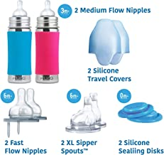 Pura Stainless Gift Set with 11oz/325 ml Stainless Steel Infant Bottles, (2) Silicone Medium-Flow Nipples (2), Fast-Flow Nipples (2), XL Sipper Spouts (2), Sealing Disks (2), Sleeves (2)-Aq&Pnk