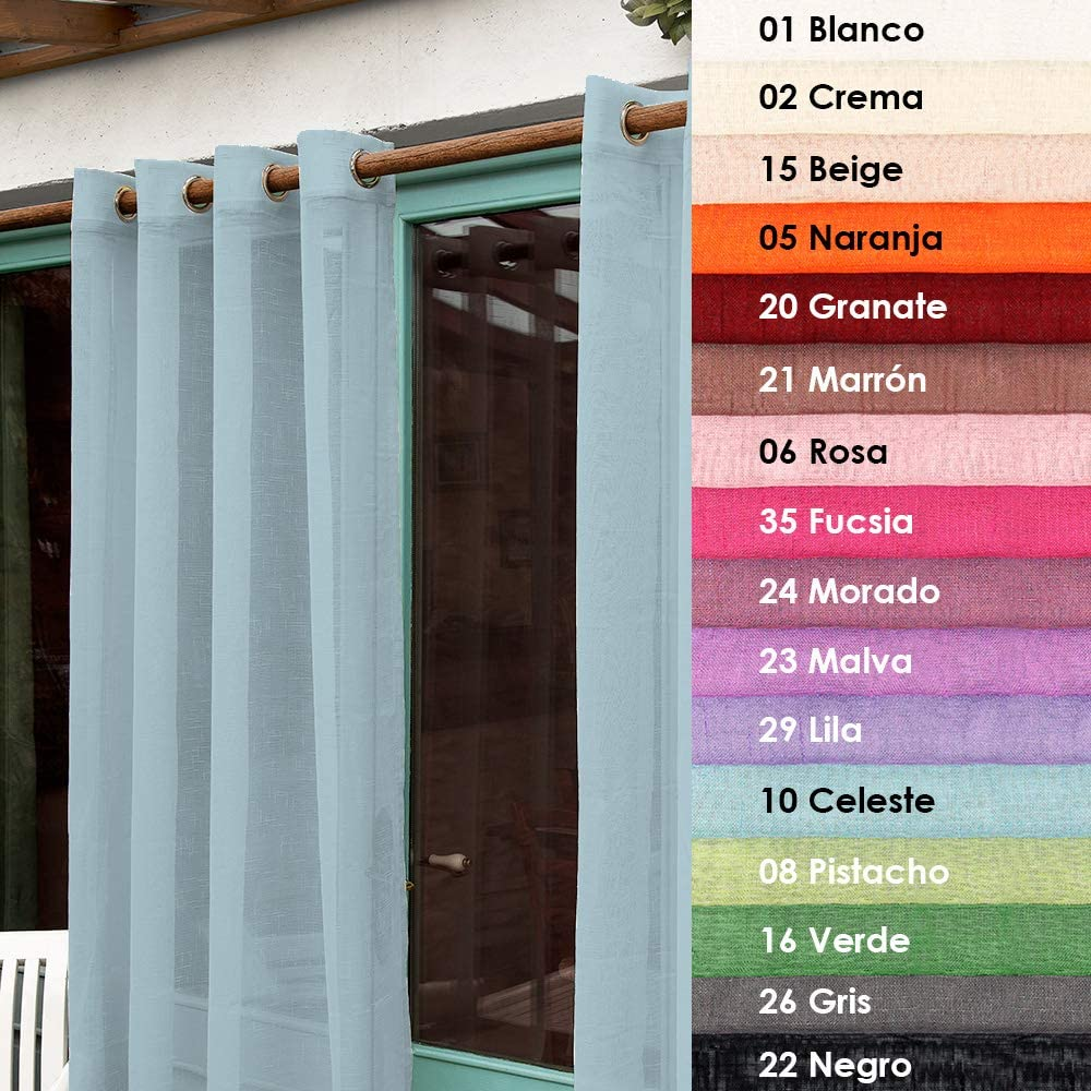 02 Crema Barcel/ó Hogar Cortina Visillo Madeira 140X270 cm