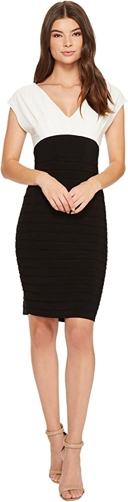 Banded V-Neck Sheath Dress