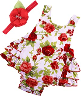 PrinceSasa Baby Girl`s Floral Print Ruffles Romper Summer Clothes with Headband
