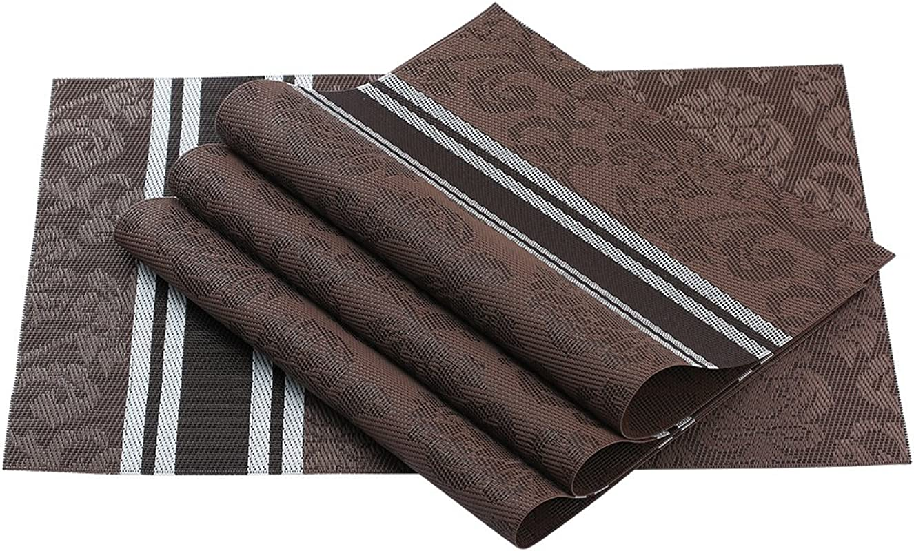 SUROY Placemats PVC Dining Room Placemats For Table Heat Insulation Crossweave Woven Vinyl Non Slip Insulation Placemat Non Slip Insulation Placemat Set Of 4
