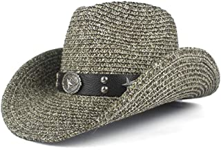 JAUROUXIYUJIN Women and Men Straw Western Cowboy Hats with Roll Up Brim Lady Gentleman Summer Beach Cowgirl Sombrero Hombre Sun Cap (Color : Gray, Size : 56-58)