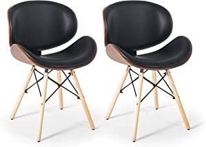 Set of 2 Mid-Century Kitchen Living Room Dining Room Upholstered Walnut Dining Chairs, Black