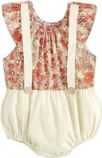 Sanlutoz 夏 ベイビーガールズ ロンパース フローラル 綿 新生児 服 ノースリーブ可愛い お姫様 幼児 子供 服