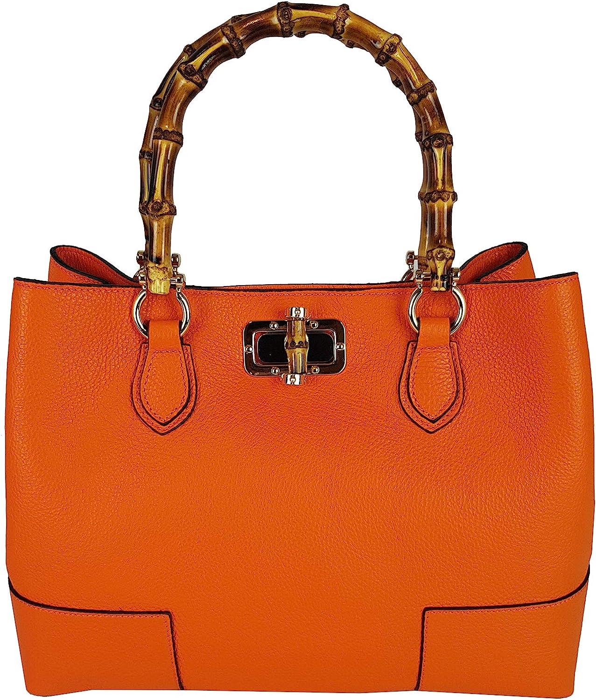 FG Bamboo Handle Handbag Genuine Leather Shoulder Bag orange Made in