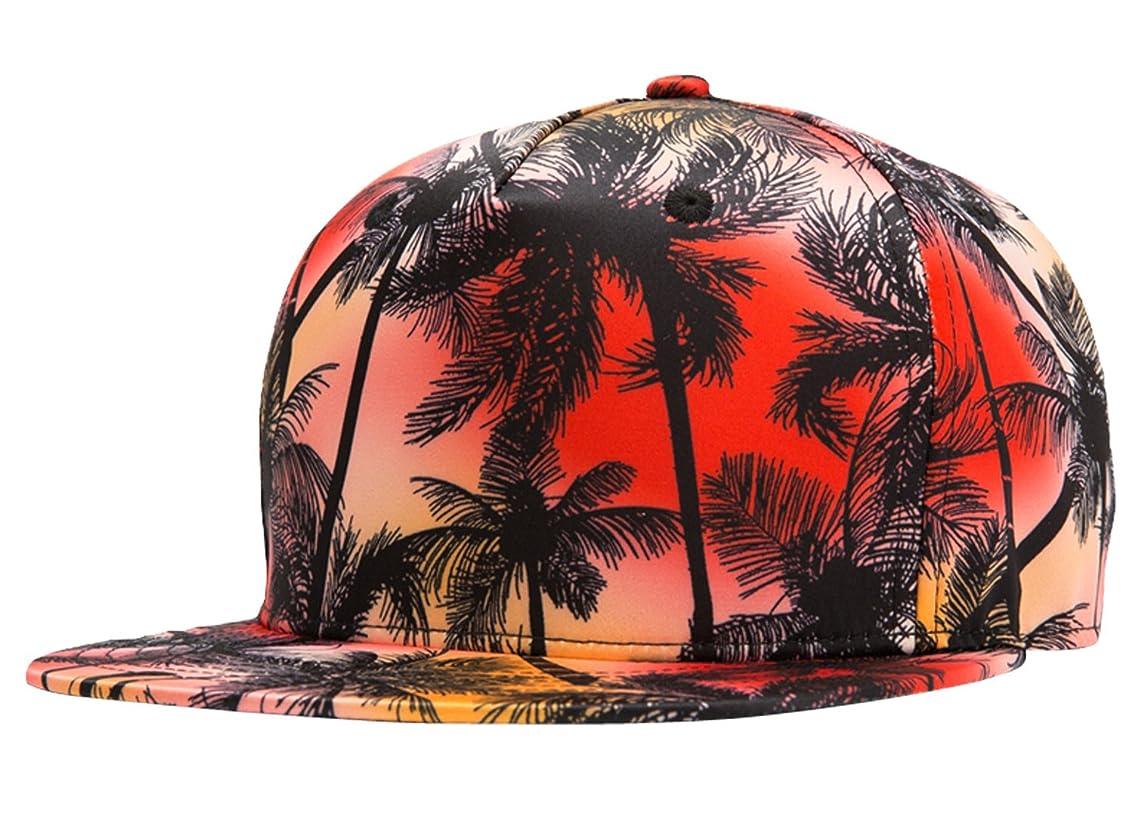 fa1de31f04a ... WUKE Unisex Coconut Tree Print Cap Fitted Flat Bill Hats Cool Snapback  Hip Hop Cap