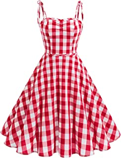 Wedtrend Women's Vintage Polka Audrey Dress 1950s Retro Plaids Cocktail Dress