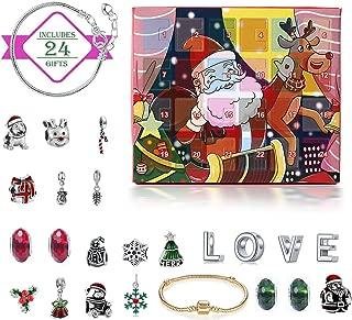 Calendario de Adviento de Monuario de Navidad, calendario de Navidad sorpresa de 24 días, pulsera de bricolaje, joyería, calendario de cuenta regresiva de Navidad para niños, regalo