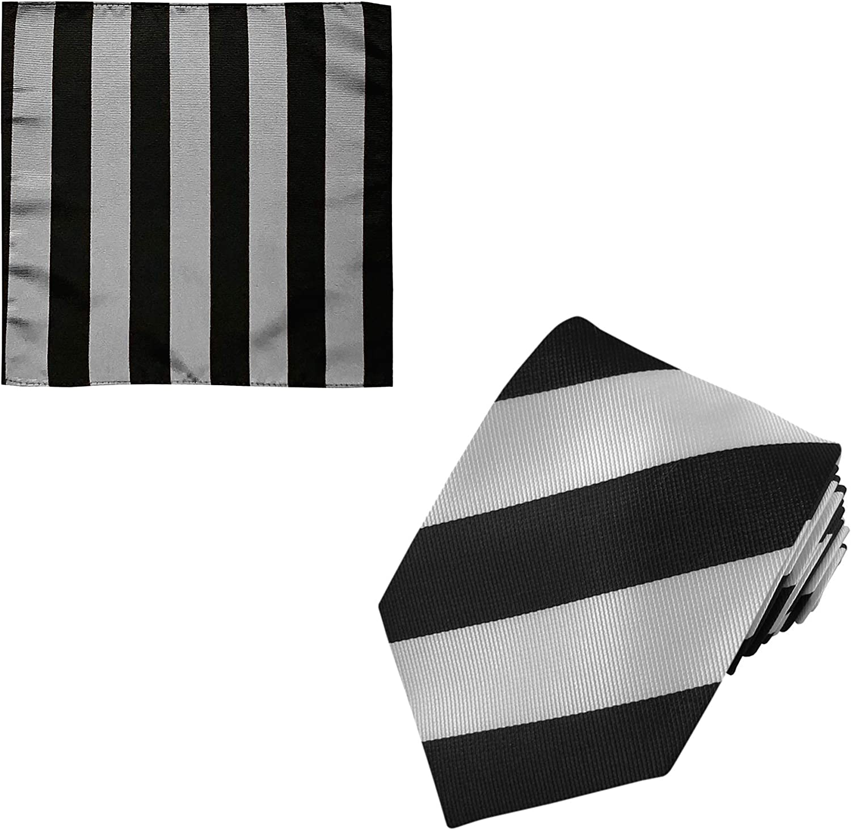 2 Piece Set: Jacob Alexander Men's 1-Inch Stripes School College Extra Long Neck Tie and Pocket Square