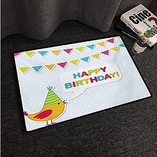 HCCJLCKS Interesting Doormat Kids Birthday Two Row Party Flag Cartoon Bird Happy Birthday Quote Image Artwork Print All Season General W16 xL24 Multicolor