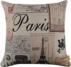 LINKWELL 18x18 Colorful Paris Eiffel Tower Burlap Cushion Covers Pillow Case