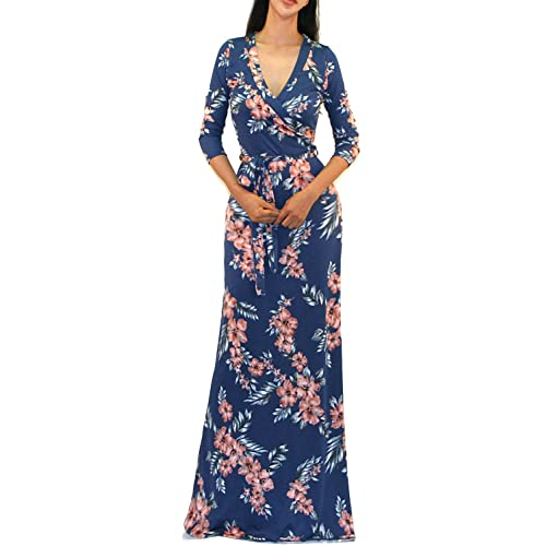 582da24e1ba Vivicastle Women s USA Printed V-Neck 3 4 Sleeve Faux Wrap Waist Tie Long