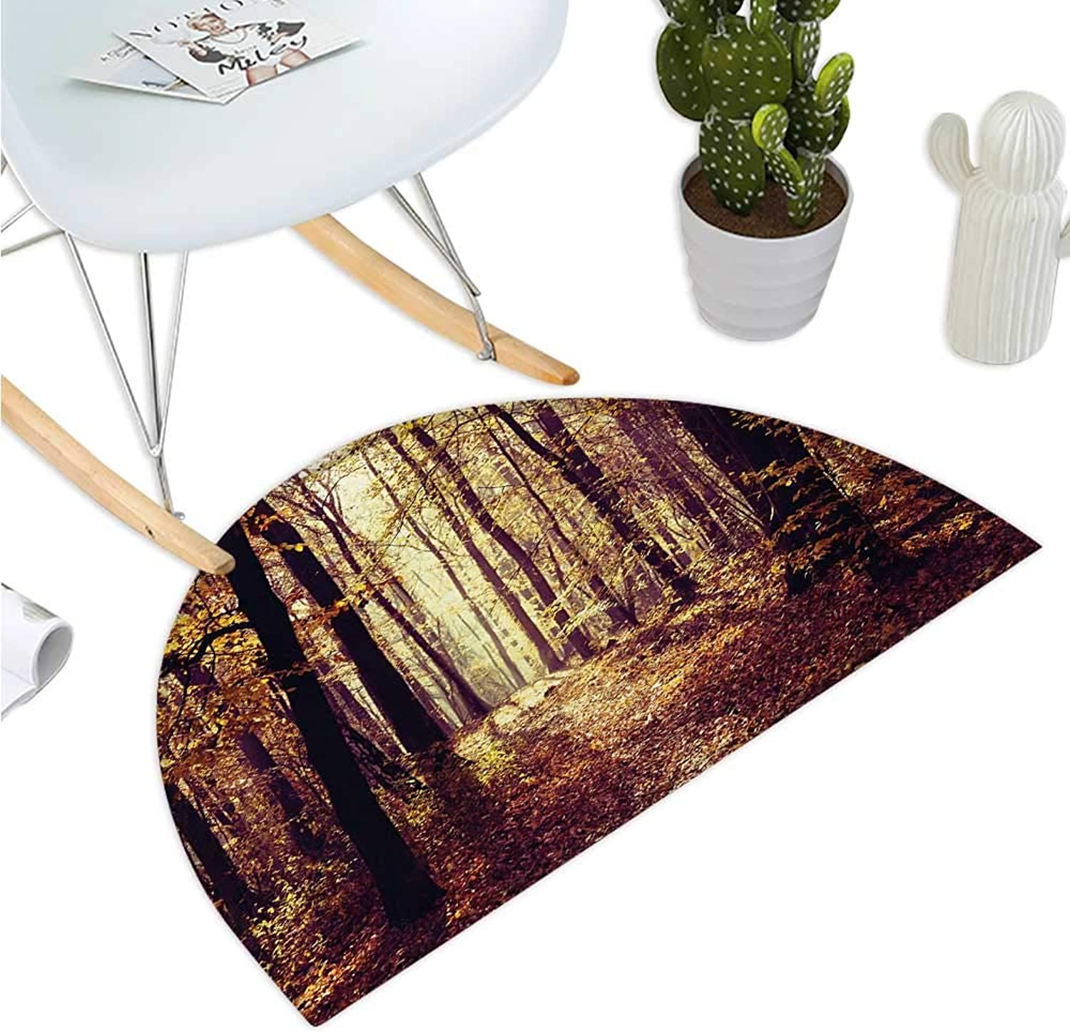 Forest Semicircle Doormat Mysterious Atmosphere Misty Woods Trees Nature Landscape Entry Door Mat H 35.4  xD 53.1  Dark orange Dark Brown Pale Yellow