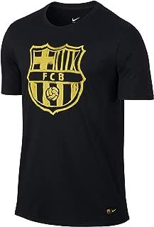 Nike FC Barcelona Crest Tee Men Shirt-Black Yellow