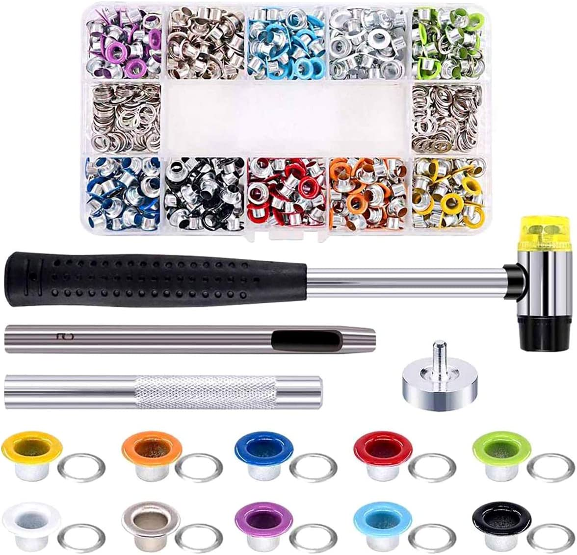 Queenbox 500Pcs 10 Colors 5mm Metal NEW San Jose Mall before selling + Kit Grommets Eyelet H 4PCS