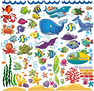 Best Decorative Fish Wall Stickers for Kids and Toddlers, Ocean Themed Under The Sea Wall Decals for Bathroom, Bedroom, Bathtub, and Children's Classroom, Removable Peel and Stick Fishes That Cling Review