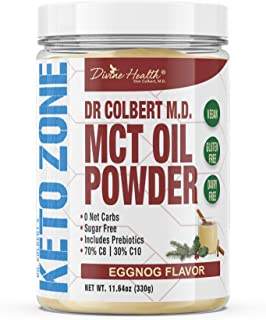 Dr. Colbert's Keto Zone MCT Oil Powder | Eggnog Flavor | 70% C8 | 30% C10 | All Natural Keto Approved for Ketosis | 0 Net ...