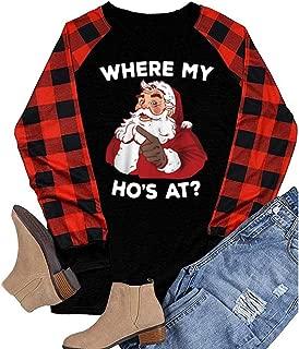 Women Christmas Baseball Tee Tops Plaid Raglan Splicing Long Sleeve Casual Xmas Shirt Blouse