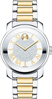 Movado Womens BOLD Luxe Two Tone Watch with Roman Index Dial, Silver/Gold (