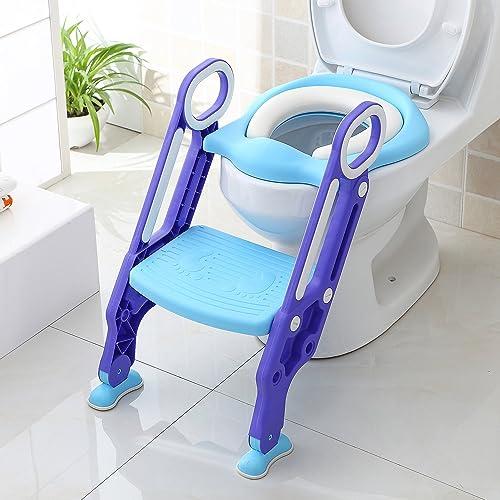 BAMNY Siège de Toilette Enfant Pliable et Réglable, Reducteur de Toilette Bébé avec Marches Larges, Lunette de Toilet...