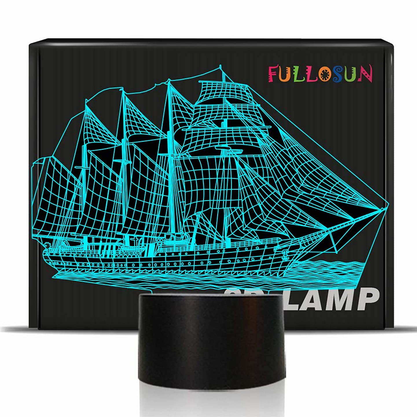 3D Illusion Sailboat Decor Night Light, 7 Color Changing, Sailing Gift, Boat Night Lamp Gifts