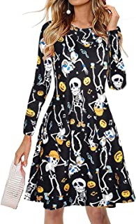 Women Halloween Dress Plus Size Long Sleeve Skull Costume Skeleton Funny Pumpkin Printed Swing Party Casual Dresses