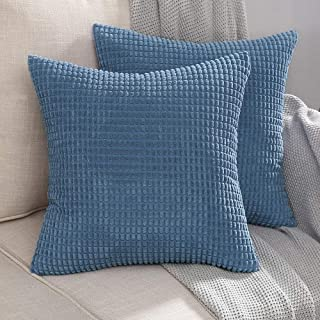 MIULEE Pack of 2 Decorative Throw Pillow Covers Soft Corduroy Solid Cushion Case Smoky Blue Pillow Cases for Couch Sofa Bedroom Car 24 x 24 Inch 60 x 60 cm