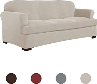 Perfect Fit Serta | Slip-Resistant Form Fitting T-Sofa Slipcover, Lightweight Ultra Durable Stretch Grid Fabric (Putty, 2-Piece)