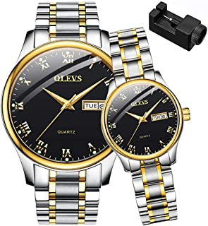 OLEVS His and Her Couple Watches Business Men Women Couple Set Pair Watch Matching Romantic Quartz Stainless Steel Waterproof Date