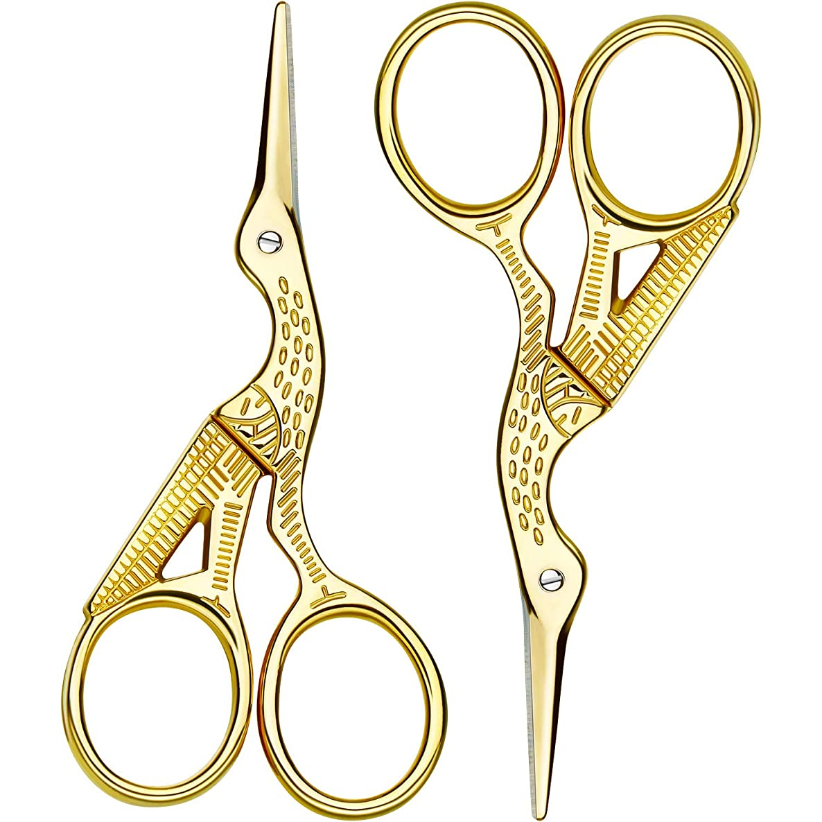 2 Pack Stork Scissors Embroidery Scissors Sewing Scissors Brow Shaping Scissors Small for Crafting, Art Work, Threading, Needlework, Stainless Steel, 3.6 Inch (Gold)