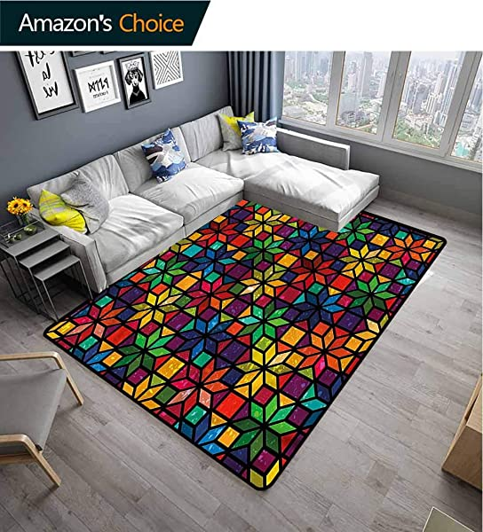 TableCoversHome Geometric Floral Area Rug Soft Window Glass Pattern Pattern Printing Rugs Durable Rugs Living Dinning Office Rooms Bedrrom Hallway Carpet 5 X 8