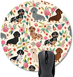 Wknoon Round Mouse Pad Cute Colorful Floral Daschund Seamless Dog Flowers Design Print Art