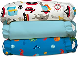 Charlie Banana Baby Fleece Reusable and Washable Cloth Diaper System, 3 Diaper and 6 Inserts, Oceana, One Size