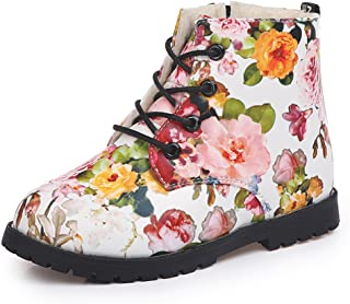 MIGO BABY Children Girl's Winter Warm Ankle Snow Boots Zipper Cute Floral Casual Shoes(Toddler/Little Kid/Big Kid)