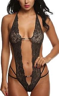 Mujer Ropa de Dormir Conjunto Sexy Transparente Lingerie Escotado por Detrás Lace Lenceria Erotica Babydoll Ropa Interior