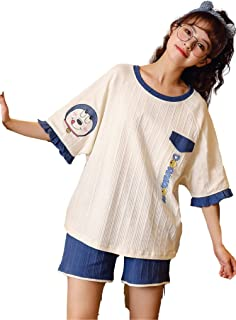 AIHE HEALTH Short Sleeve Shorts Round Neck Pajamas Women's Cute Cartoon Suits can be Worn Outdoor and Indoor Summer Free 1...