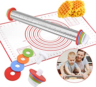 Conleke Rolling Pin with Adjustable Discs Stainless Steel Rolling Pins and Baking Mat for Making Dough Pizza Pie Cookies Bread Noodles (17
