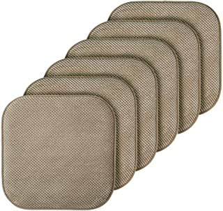 GoodGram 6 Pack Non Slip Ultra Soft Chenille Premium Comfort Memory Foam Chair Pads/Cushions - Assorted Colors (Taupe)