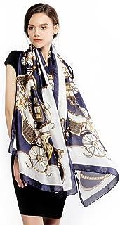 RIIQIICHY 100% Silk Scarfs for Women Long Large Lightweight Satin Shawl Fashion Printed Scarves for Ladies