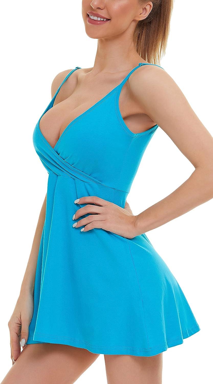 MadHeart Women's V-Neck Spaghetti Strap Summer Casual Swin lowest price Inexpensive Dress