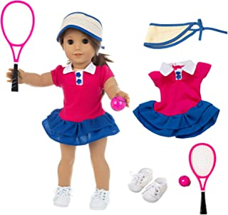 ZQDOLL American Doll Clothes Tennis Outfit for 18 Inch Doll Clothes- Includes Hat,Dress, Racket, Ball and Shoes.Fit Americ...