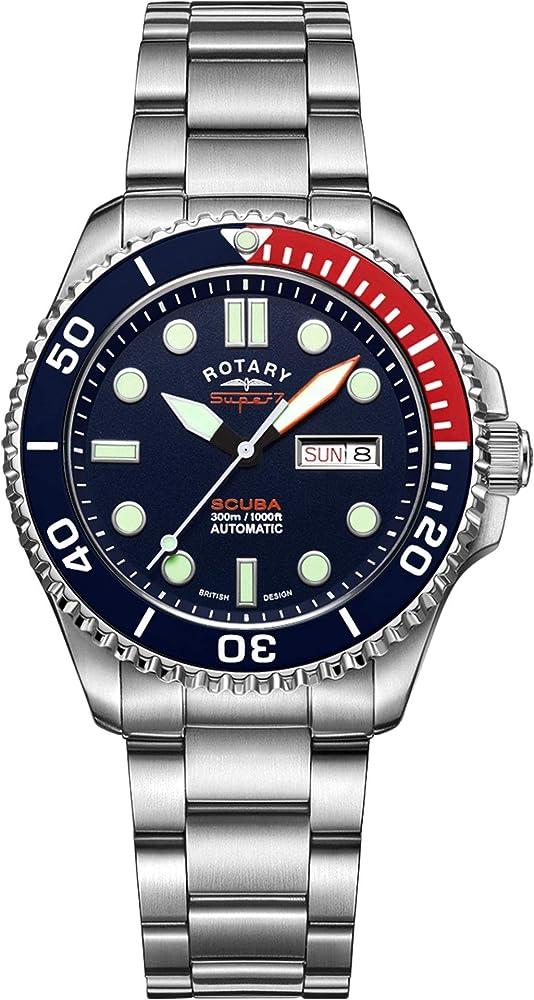 Rotary super 7 orologio da uomo con cinturino in acciaio inossidabile automatico da immersione S7S004B