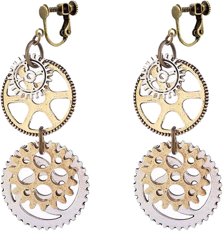 Women's Retro Clip on Non Pierced Earrings Sweet Steampunk Gear Disc Pendant Ethnic Mechanical Dangle Drop for Women Girls Birthday Party Prom Gifts Bohemian Jewelry