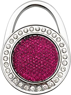 Sparkle Bling Round Shape Designed Shoulder Handbag Folding Purse Holder Hangers Hooks Foldable Purse Hanger Handbag Table Hook Holder, Rose, M