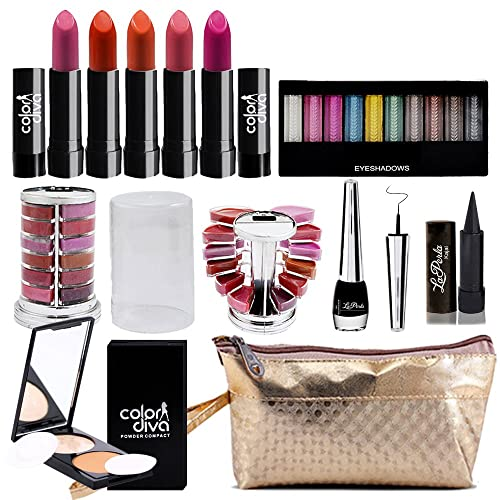 adbeni Combo Makeup Set (10 Color Eyeshadow,Eyeliner Lipgloss Pallet 12 Color,Kajal